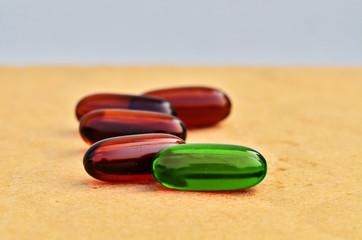 Bright green capsules
