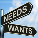 Needs Wants Signpost Means Necessity And Desire poster