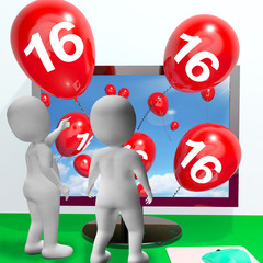 Number 16 Balloons from Monitor Show Online Invitation or Celebr