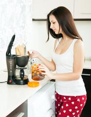 girl preparing  coffee