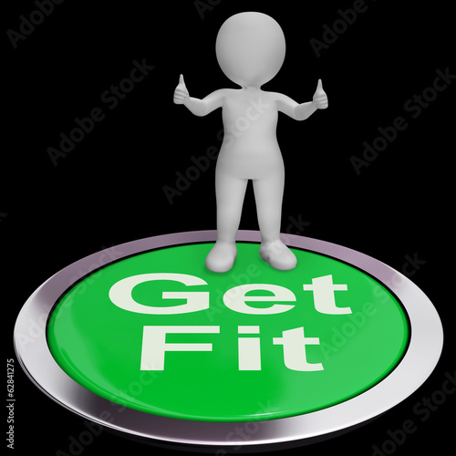 Get Fit Button Shows Exercise And Working Out