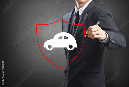 Shield protecting auto car, insurance concept