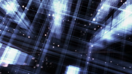 Night City. 3D rendered cyclic footage of an abstract geometry