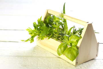 Variety of fresh herbs on white boards