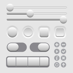 User Interface Elements Set on Light Background. Vector