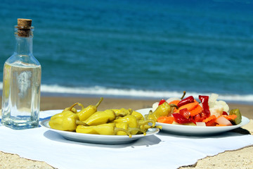 pickled peppers and ouzo in GREECE