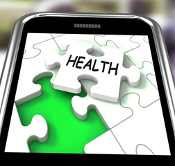 Health Smartphone Shows Medical Wellness And Self Care