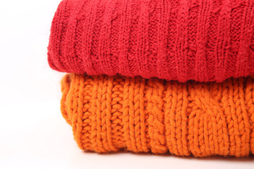 Woolen knitted clothes background