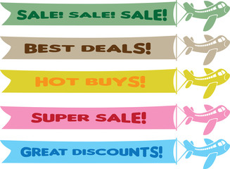 Planes with flying banners with different sale messages