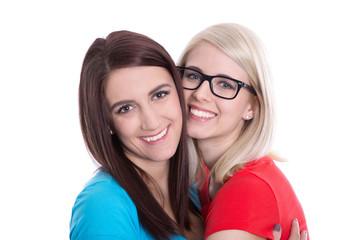 Beste Freundinnen - lachende Gesichter - zwei Frauen isoliert
