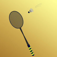 rackets and shuttlecock on a yellow background