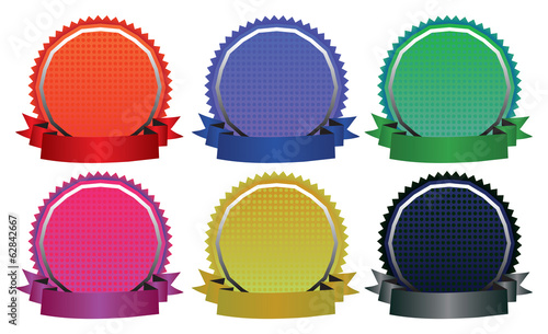 Vector Illustration of Six Colorful Badges