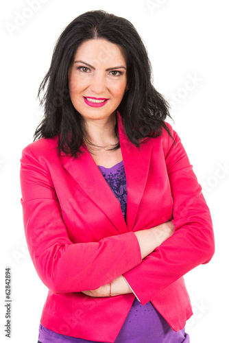 Casual woman in fuchsia jacket