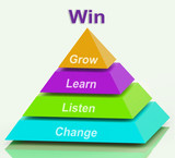 Win Pyramid Shows Success Accomplishment Or Victory poster