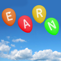 Four Earn Balloons Show Online Earnings Promotions Opportunities