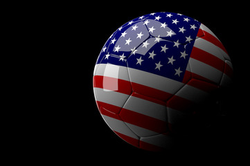 United State of America soccer ball on dark background