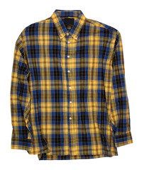 Man's blue yellow cotton plaid shirt