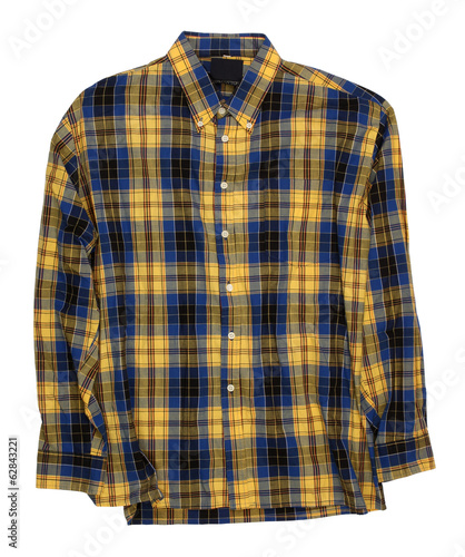 Man's blue yellow cotton plaid shirt