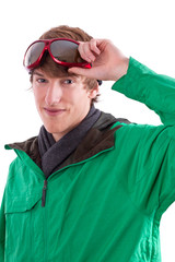Young sporty man with winter jacket