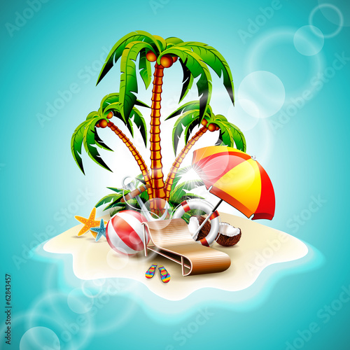 Vector illustration on a summer holiday theme