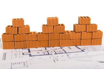 Ziegelhausreihe auf Bauplan