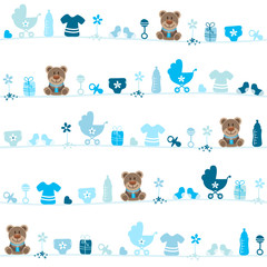 Seamless Pattern Teddy Baby Boy Blue