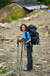 Trekking young woman in the Himalayas
