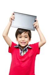 Little boy holding tablet computer touch screen
