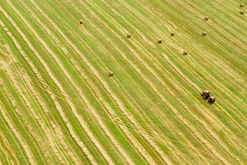 An aerial view of tractor working in a field