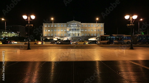 City Traffic and Parliament Building  Athens at Night Time