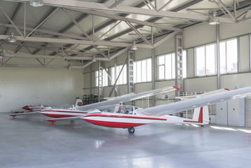 Three lightweight gliders stationed