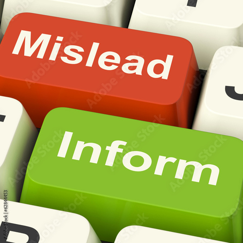 Mislead Inform Keys Shows Misleading Or Informative Advice