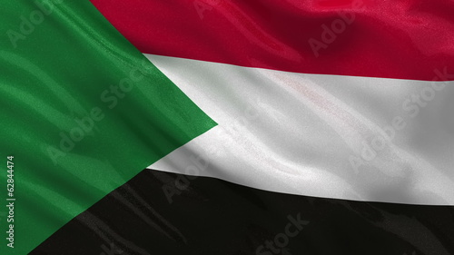 Flag of Sudan waving in the wind - seamless loop