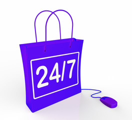 Twenty-four Seven Bag Represents Online Shopping Availability