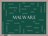 Malware Word Cloud Concept on a Blackboard poster