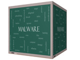 Malware Word Cloud Concept on a 3D cube Blackboard poster