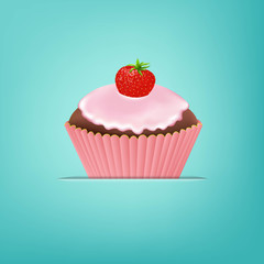 Cupcake With Cream And Strawberry
