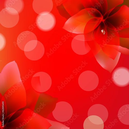 Red Poster With Flowers
