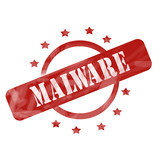Red Weathered Malware Stamp Circle and Stars design poster