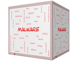 Malware Word Cloud Concept on a 3D cube Whiteboard poster