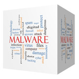 Malware 3D cube Word Cloud Concept poster