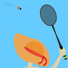 girl in orange hat has a badminton racquet shuttlecock?