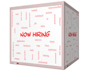 Now Hiring Word Cloud Concept on a 3D cube Whiteboard
