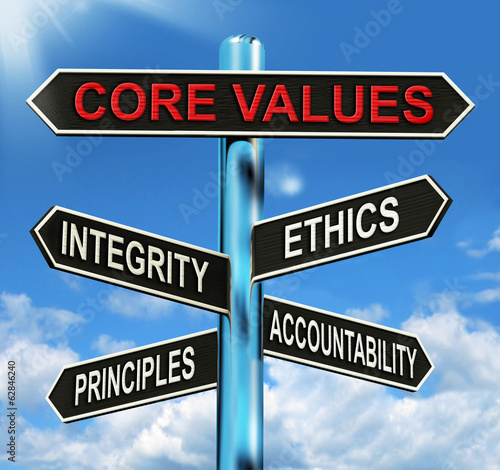 Core Values Signpost Means Integrity Ethics Principals And Accou