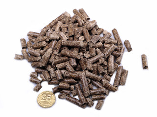 Natural source of energy in the form of wooden briquettes on a w