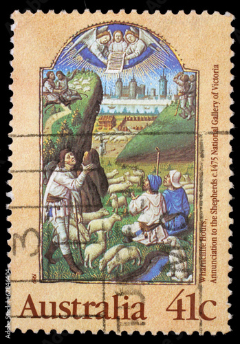 Stamp printed in Australia shows Annunciation to the Shepherds