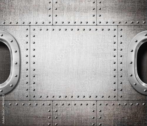 ship window or submarine aboard steam punk metal background