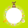 Easter Card Bunny, Duck & Sheep Round Frame Green