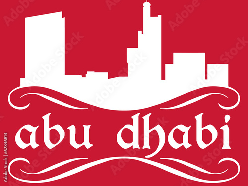 Abu Dhabi - name and city silhouette