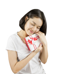 Young Asian women holding gift box